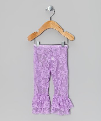 Lavender Lace Ruffle Leggings - Infant, Toddler & Girls