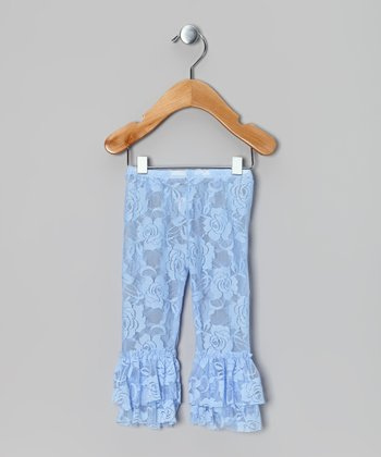 Light Blue Lace Ruffle Leggings - Infant, Toddler & Girls