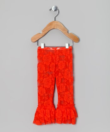 Orange Lace Ruffle Leggings - Infant, Toddler & Girls