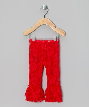 Red Lace Ruffle Leggings - Infant, Toddler & Girls