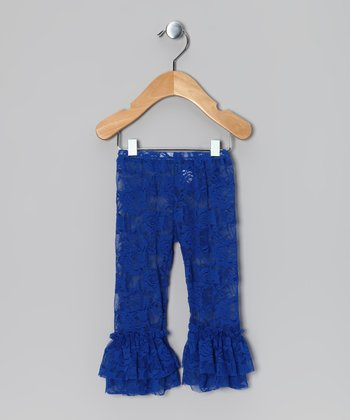Royal Blue Lace Ruffle Leggings - Infant, Toddler & Girls