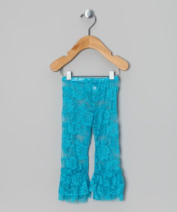Turquoise Lace Ruffle Leggings - Infant, Toddler & Girls