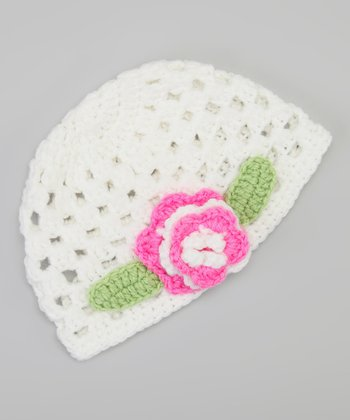 White & Light Pink Flower Beanie