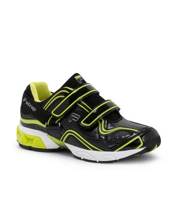 Lime & Black F-Strap Sneaker - Toddler & Boys