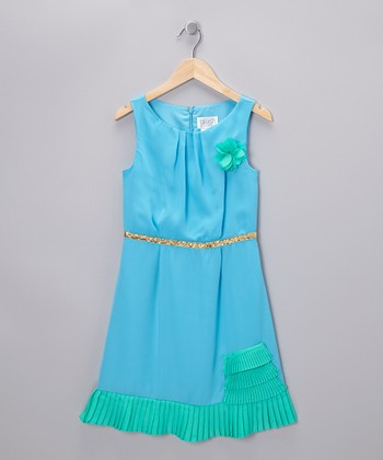 Aqua & Jade Ruffle Dress - Girls