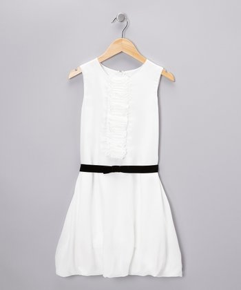 Stone White Ruffle Placket Dress