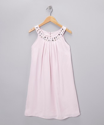 Whisper Pink Rhinestone Yoke Dress - Girls