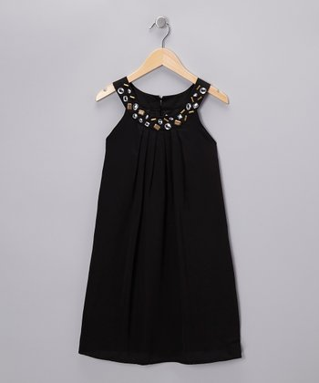 Black Brass Rhinestone Yoke Dress