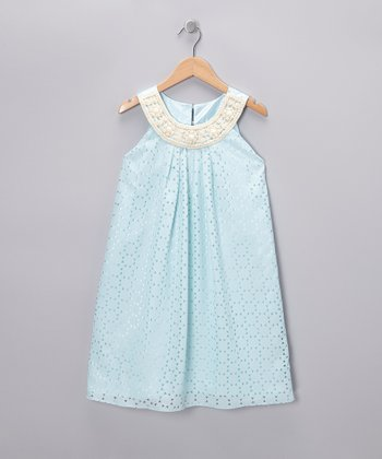 Blue Pearl Yoke Dress - Girls