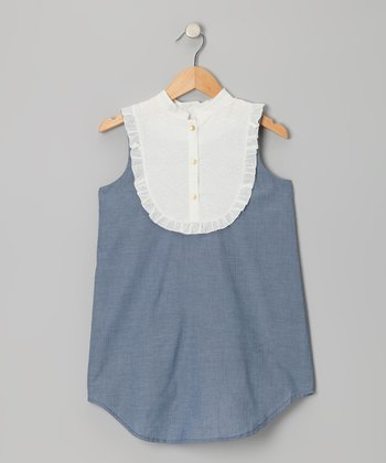 Indigo & Ivory Swiss Dot Bib Chambray Dress - Girls