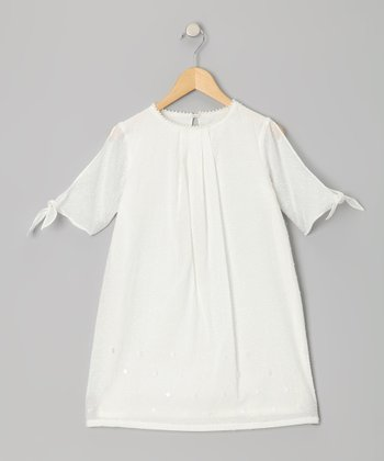 Ivory Swiss Dot Split Sleeve Dress