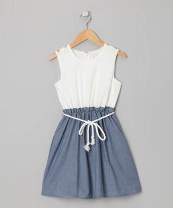 Ivory & Indigo Swiss Dot Tie-Waist Dress - Girls