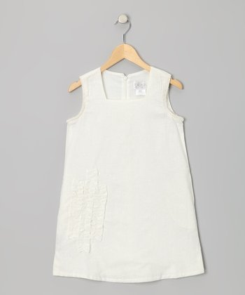 Ivory Linen-Blend Shift Dress - Girls