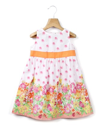 Orange Floral A-Line Dress - Infant, Toddler & Girls