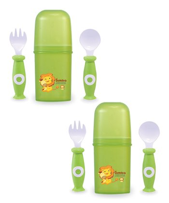 Green Travel Silverware Set