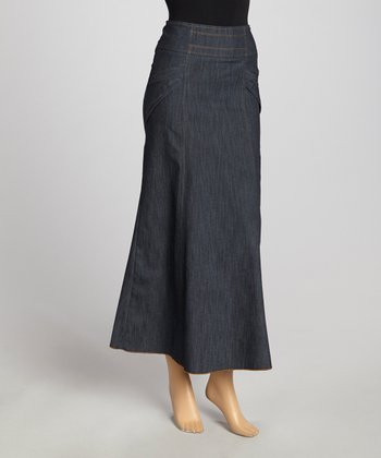 Blue Stitch-Line Maxi Skirt - Women & Plus