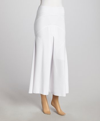 White Front-Slit Maxi Skirt - Women & Plus