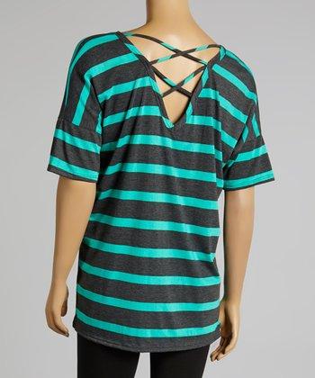 Mint & Charcoal Stripe Top - Plus