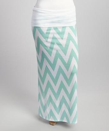 Mint & White Zigzag Maxi Skirt - Plus