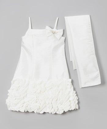 Ivory Petal Bow Ruffle Dress & Sash - Toddler & Girls