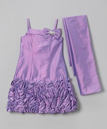 Orchid Petal Bow Ruffle Dress & Sash - Toddler & Girls