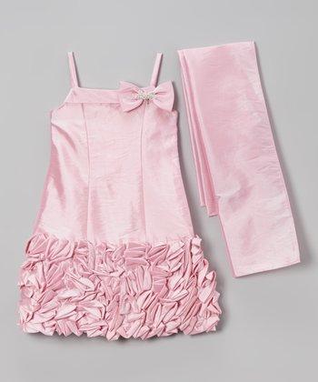 Pink Petal Bow Ruffle Dress & Sash - Toddler & Girls