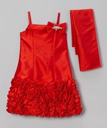 Red Petal Bow Ruffle Dress & Sash - Toddler & Girls