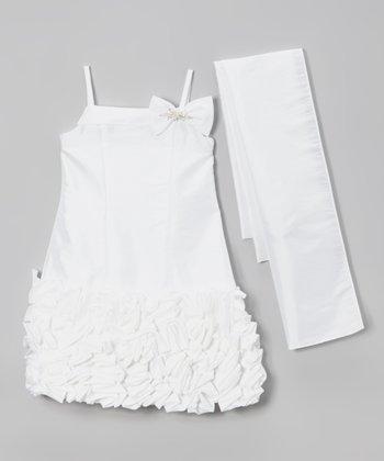 White Petal Bow Ruffle Dress & Sash - Toddler & Girls