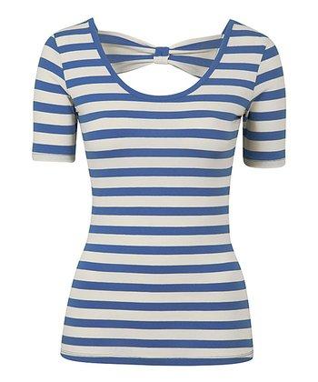 Blue Short Sleeve Bow Jersey Top