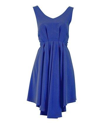 Blue Deep V-Back Full-Skirt Dress