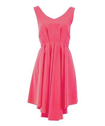 Pink Deep V-Back Full-Skirt Dress