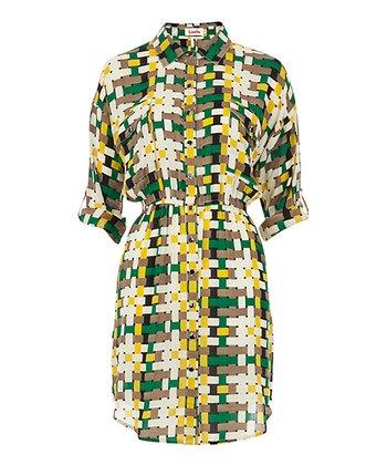 Yellow Woven Check Shirt Dress
