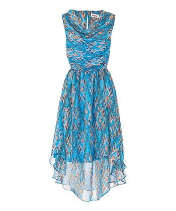 Blue Ikat Curved Hem Cowl Neck Dress