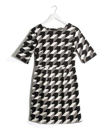 Black & Cream Graphic Long-Sleeve Dress