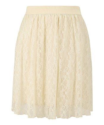 Cream Lace Knee Length Skirt