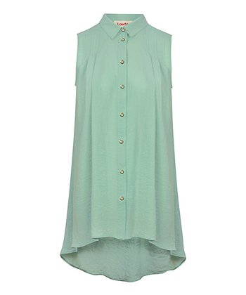 Green Pleated Back Button Tunic