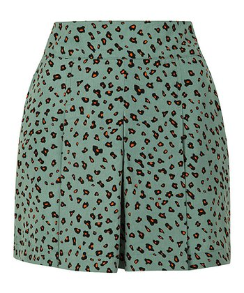 Green Duck Egg Leopard Shorts