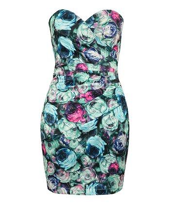 Black Digital Rose Bustier Dress