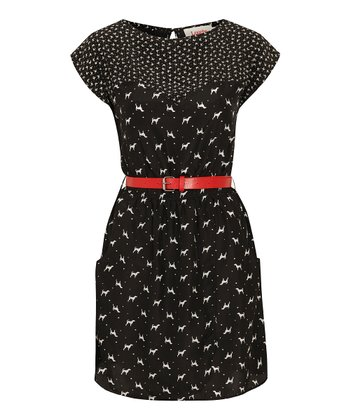 Black Sweetheart Neck Rope Belt Dress