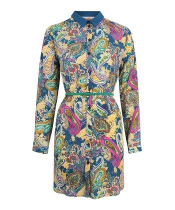 Blue Paisley Shirt Dress