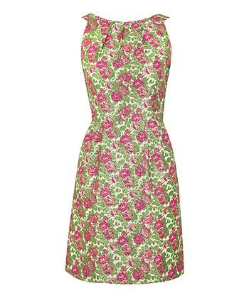 Pink & Green Rose Floral Jacquard Dress