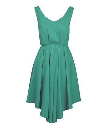 Jade Deep V-Back Full-Skirt Dress
