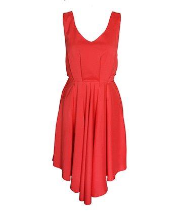 Red Deep V-Back Full-Skirt Dress