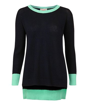 Navy & Teal Contrast Tipped Jumper