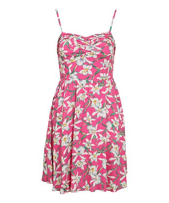 Pink Strappy Floral Dress
