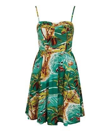 Green Strappy Hawaiian Dress