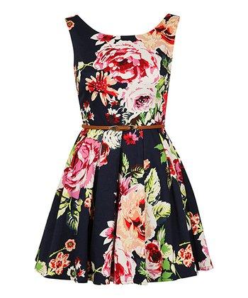 Navy Bold Floral Belted Dress