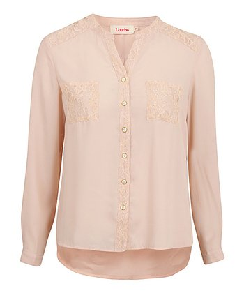 Cream Lace Pocket Long-Sleeve Blouse