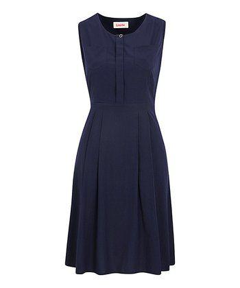 Navy Placket Front Pocket Dress