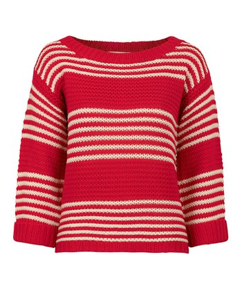 Red & White Stripe Textured Slouch Jumper